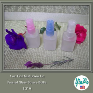 1 oz. Square Frosted Glass Bottle with Pink, Blue, Clear Fine Mist