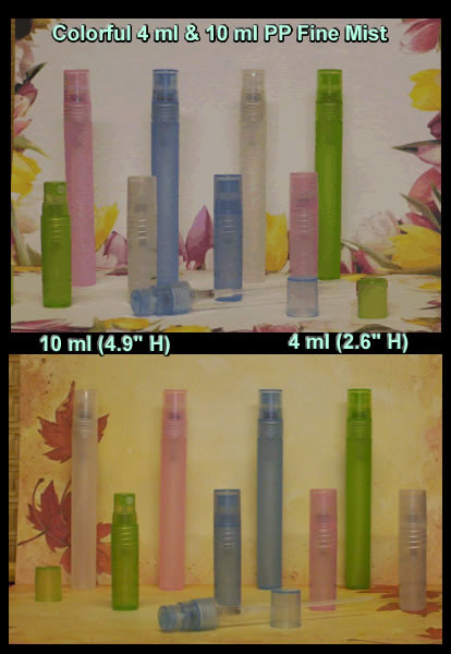Slim PP Bottles 4 ml, 10 ml, Fine Mist, Screw On, Pink, Clear, Green Blue