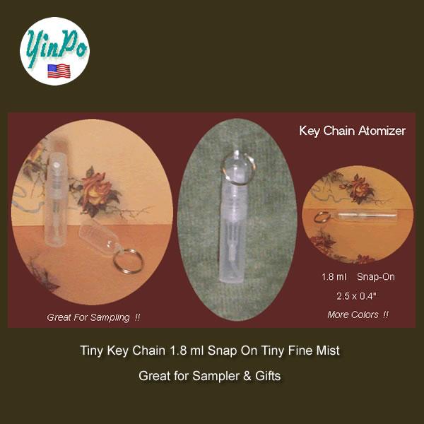 Sampler Key Chain Snap On 1.8 ml Fine Mist Bottles EMPTY