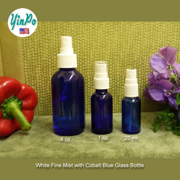 White Fine Mist With 4 oz. 1 oz. 20 ml Glass Bottles EMPTY