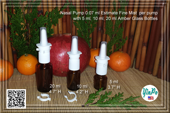 Pfeiffer Aptar White Nasal Spray Pump with EMPTY 5 ml, 10 ml, 20 ml Amber Glass Bottles