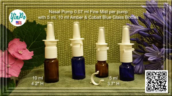 Pfeiffer Aptar White Nasal Spray Pump with EMPTY 5 ml, 10 ml, 20 ml Amber & Cobalt Blue Glass Bottles