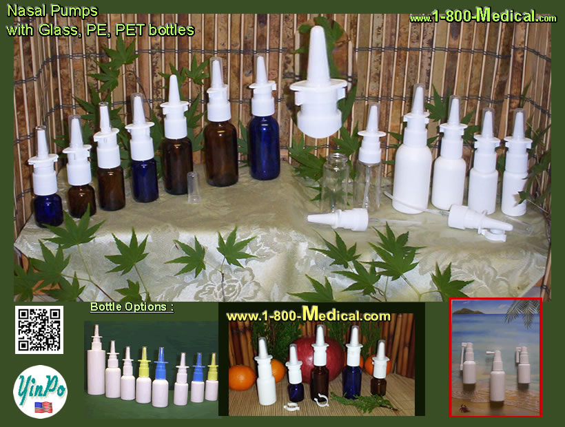 Nasal Spray Pump Applicators and Mouth Oral Spray Pump Applicators with bottles