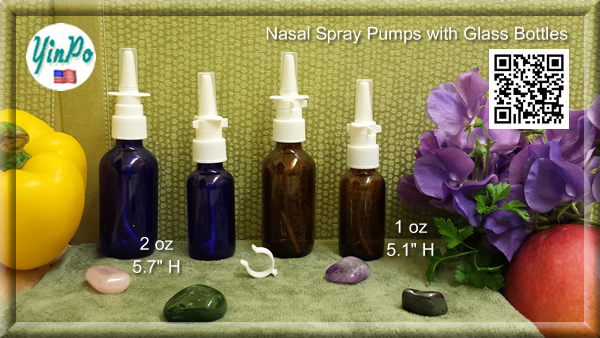 White Nasal Spray Pump with 1 oz. & 2 oz. Amber & Cobalt Blue Glass Bottles