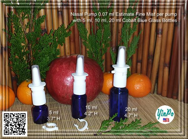 Pfeiffer Aptar White Nasal Spray Pump with 5 ml, 10 ml, 20 ml Amber & Cobalt Blue Glass Bottles