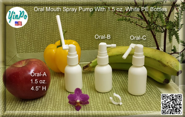 Mouth Oral-A, B, C Spray Pump with EMPTY 1.5 oz. White PE Bottles