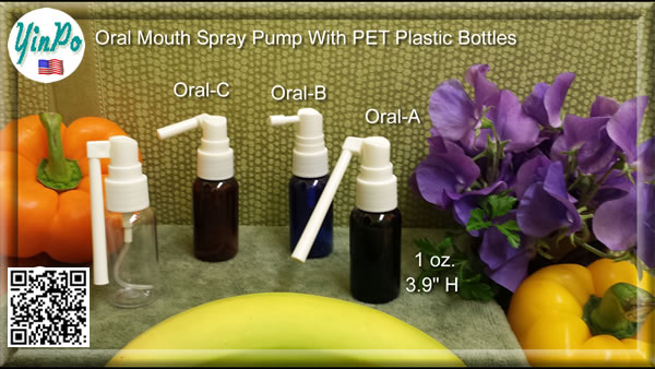 Mouth Oral-A, B, C Spray Pump with EMPTY 1.0 oz. PET Bottles