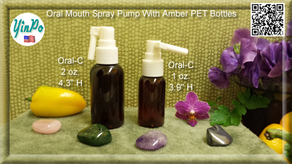 Mouth Oral-A, B, C Spray Pump with EMPTY 1.0 oz. & 2.0 oz. Amber PET Bottles