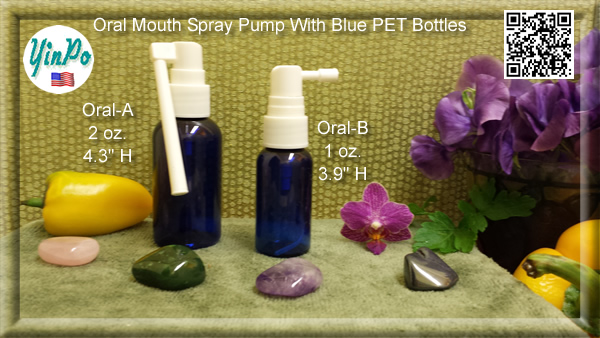 Mouth Oral-A, B, C Spray Pump with EMPTY 1.0 oz. & 2.0 oz. Blue PET Bottles