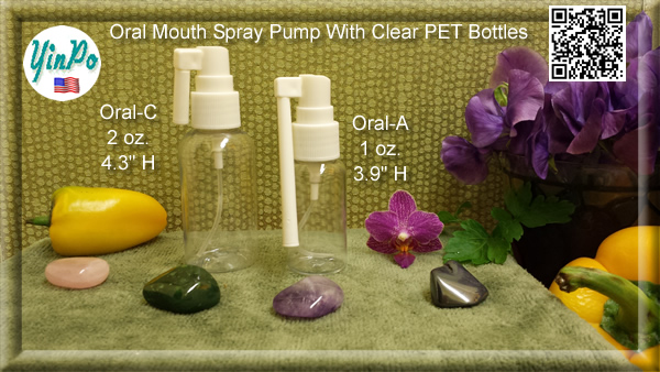Mouth Oral-A, C Spray Pump with EMPTY 1.0 oz. & 2.0 oz. Clear PET Bottles