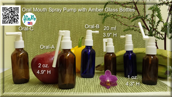 Mouth Oral Spray Pump Applicator with White 1 oz. & 2 oz. Amber & Cobalt Blue bottles