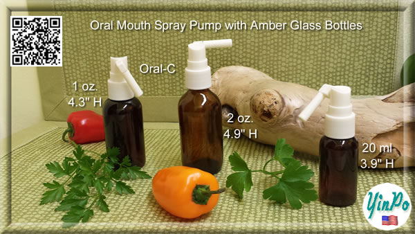 Mouth Oral-C Spray Pump with EMPTY 20 ml, 1 oz. 2 oz. Amber Glass Bottles