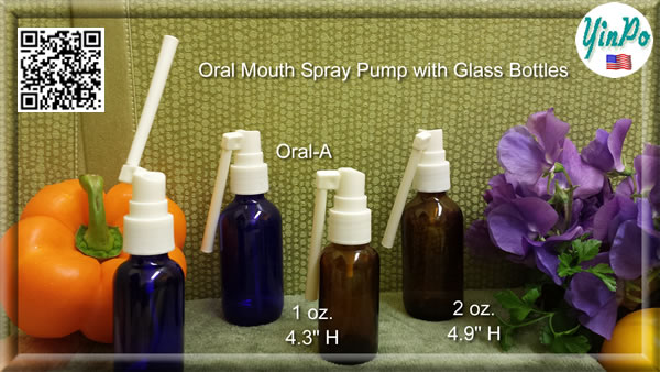 Mouth Oral-A Spray Pump with EMPTY 1 oz. & 2 oz. Amber & Cobalt Blue Glass Bottles