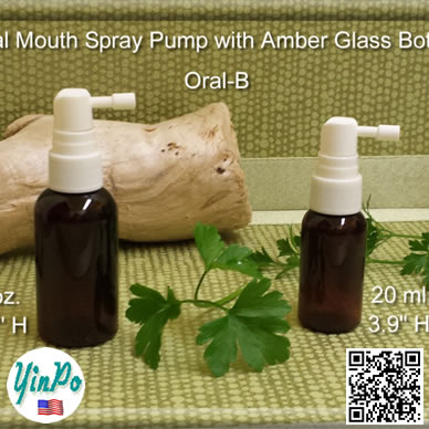 Mouth Oral-B Spray Pump with EMPTY 20 ml, 1 oz. Amber Glass Bottles
